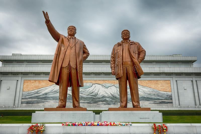 PYONGYANG,NORTH KOREA-OCTOBER 13,2017: Monument to Kim Il Sung. And Kim Jong Il on Mansu Hill Grand Monument royalty free stock photo