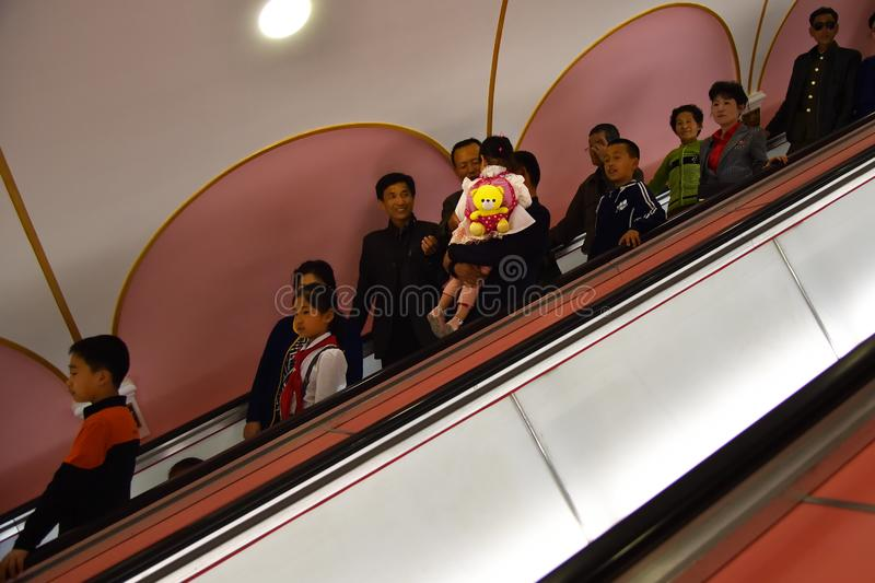 Pyongyang, North Korea. People at Metro station stock images
