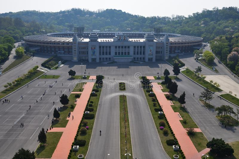 Pyongyang, North Korea. May 1, 2019: View from above on the buildigg of the Kim Il Sung Stadium, a large multi-purpose stadium located in Pyongyang royalty free stock images