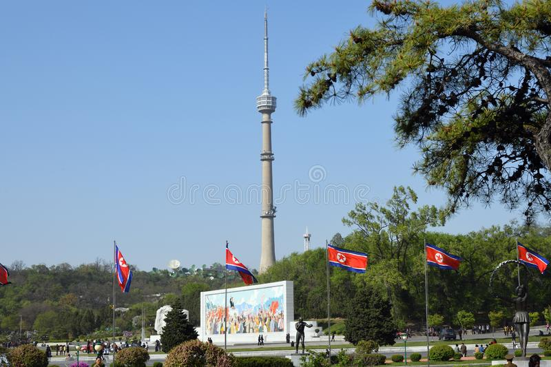 Pyongyang, North Korea. TV tower. Pyongyang, North Korea - May 1, 2019: View on the  Pyongyang TV tower from the Kim Il Sung Stadium. Tower has a height of 150 stock photo