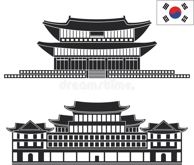 pyongyang Uppsättning stock illustrationer