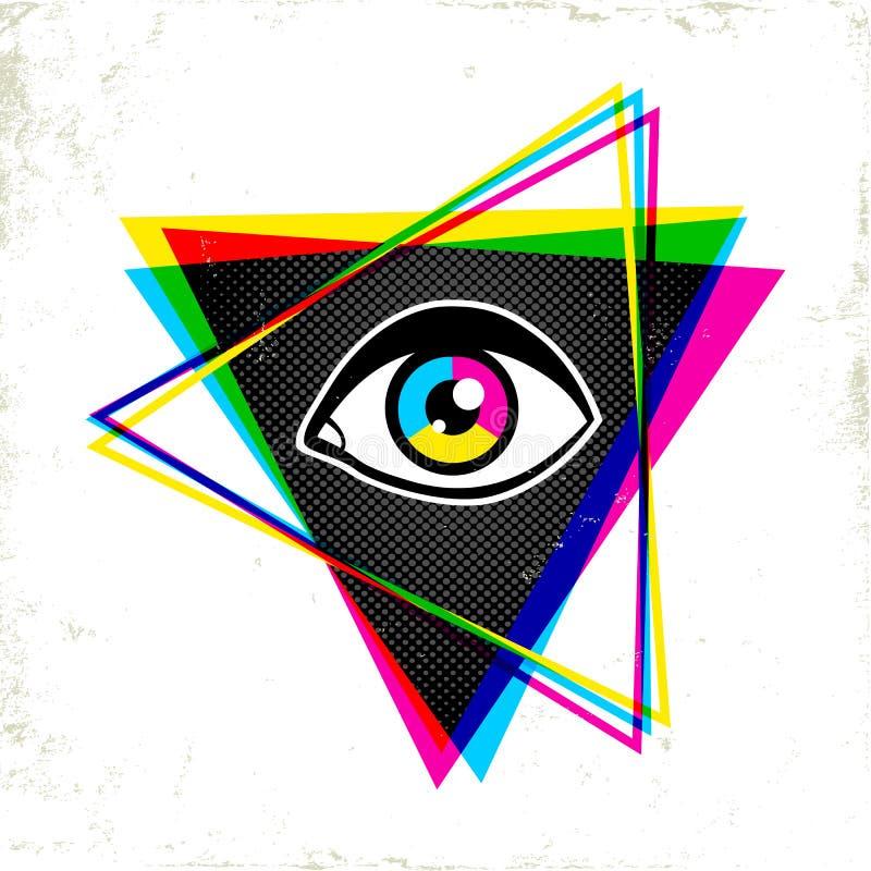 Pypamid和眼睛 库存例证