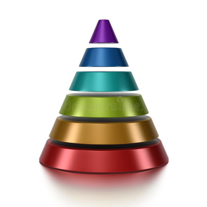 Pyramid. Cone pyramid with 6 levels over a white background royalty free illustration