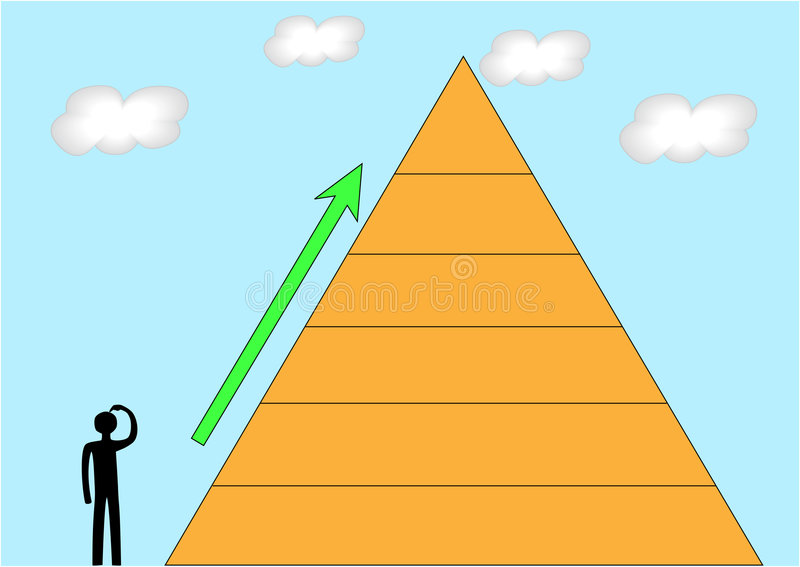 Pyramid. Person standing near the pyramid going to ascend royalty free illustration
