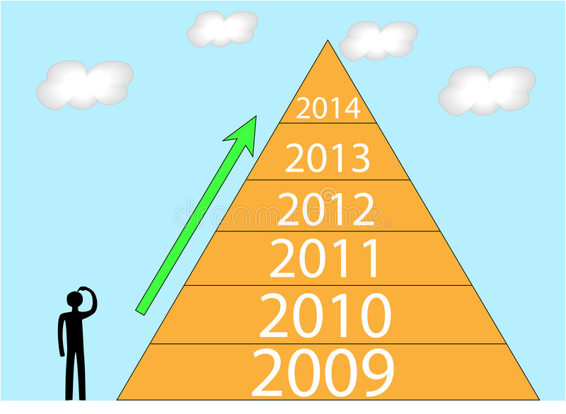 Pyramid. A person going to ascend the pyramid royalty free illustration