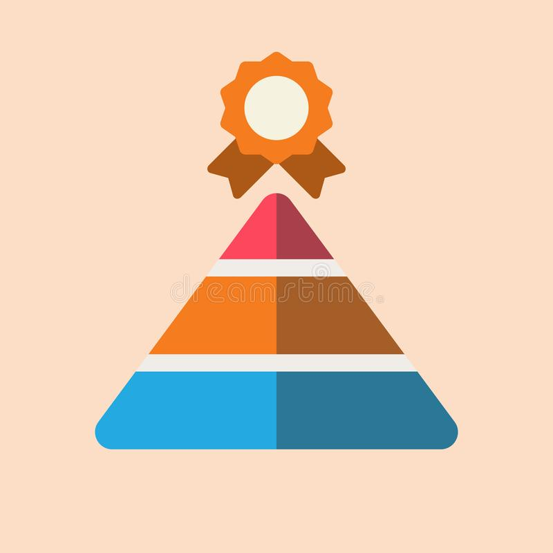Pyramid achievement diagram flat icon with badge stock illustration