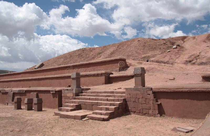 Pyramid Akapana at ancient Tiwanaku Ruins, Bolivia. Pyramid Akapana at ancient Tiwanaku Ruins, precolombian civilization Tiwanaku, Altiplano, Bolivia, South royalty free stock photos