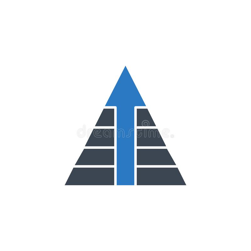 Pyramid with Arrow related vector glyph icon. vector illustration