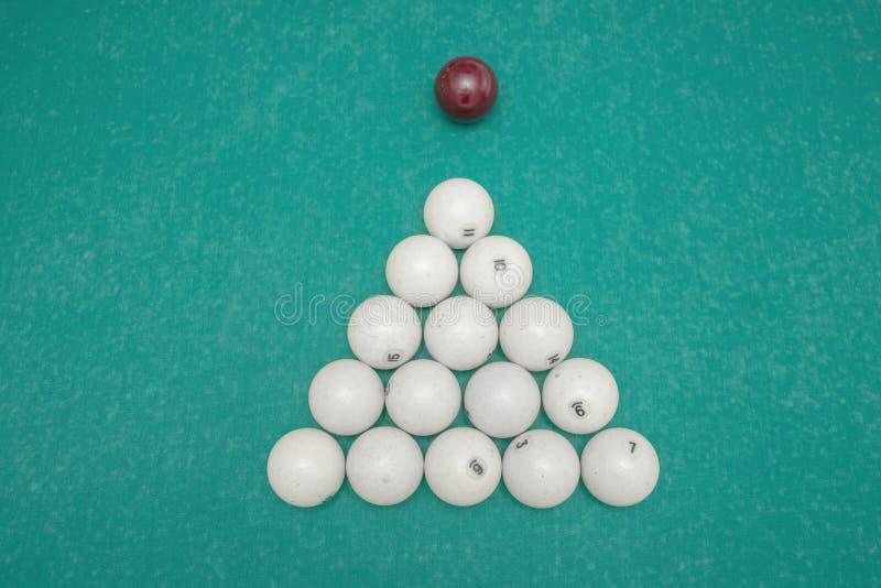 Pyramid av billiardbollar på tabellen arkivbild