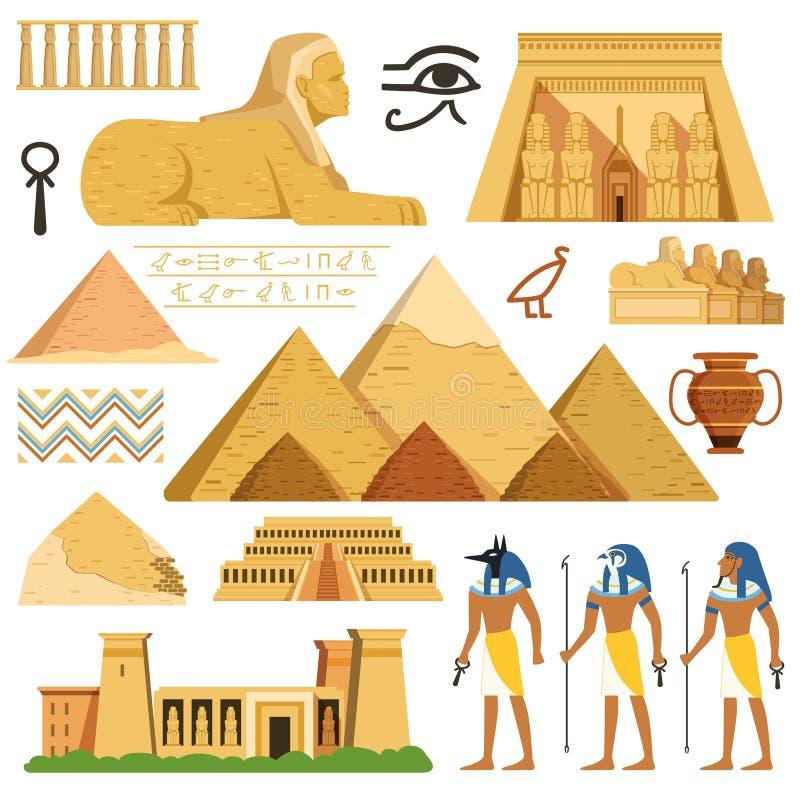 Pyramid av Egypten Historiegränsmärken Kulturella objekt och symboler av egyptier royaltyfri illustrationer