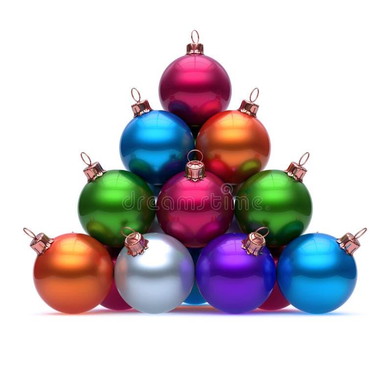 Pyramid av färgrik röd blå orange purpurfärgad gräsplan för julbollar stock illustrationer