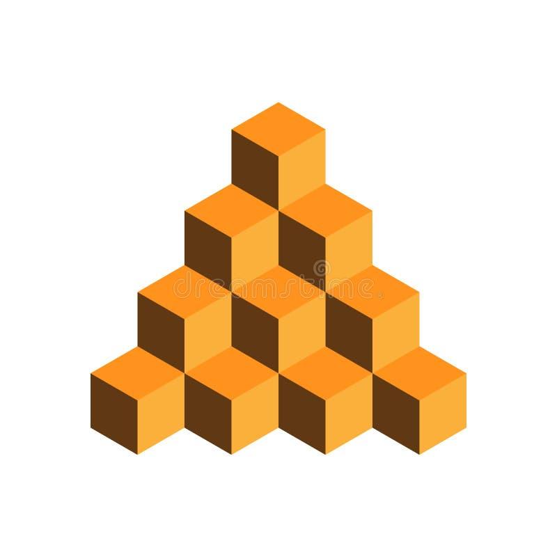 Pyramid av guld- kuber illustration för vektor som 3d isoleras på vit bakgrund stock illustrationer