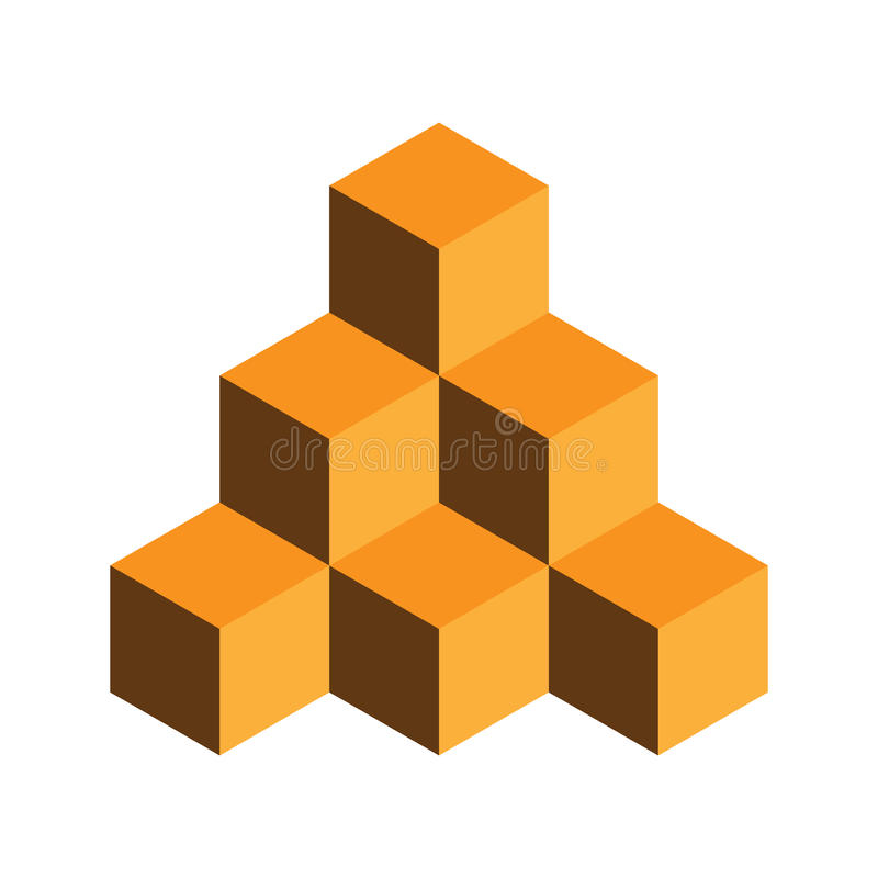Pyramid av guld- kuber illustration för vektor som 3d isoleras på vit bakgrund royaltyfri illustrationer