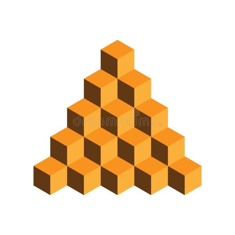 Pyramid av guld- kuber illustration för vektor som 3d isoleras på vit bakgrund vektor illustrationer