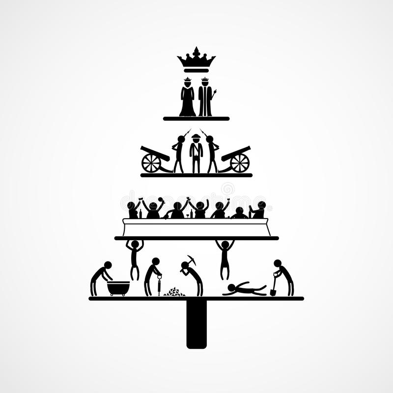 Pyramid av kapitalism stock illustrationer