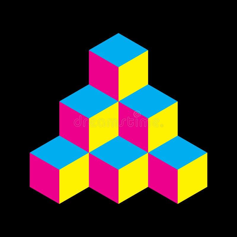 Pyramid av kuber i CMYK-färger illustration för vektor som 3d isoleras på vit bakgrund vektor illustrationer