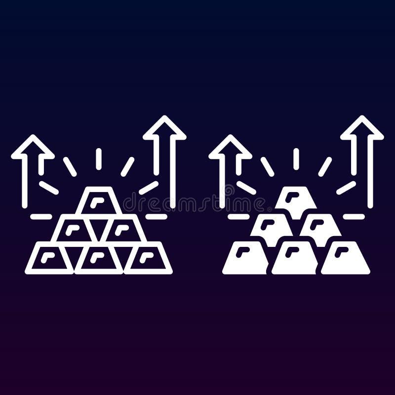 Pyramid av linjen för guld- stänger och den fasta symbolen, översikt och fylld pictogram för tecken för vektor som linjär och ful vektor illustrationer