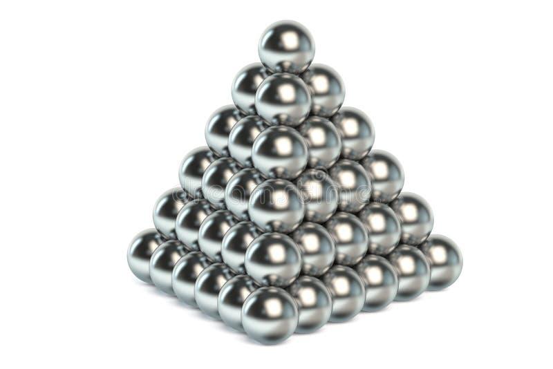 Pyramid av metallbollar royaltyfria bilder