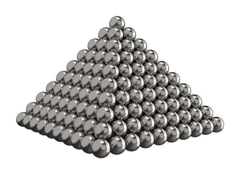 Pyramid av stålbollar på en vit bakgrund målat toyvatten för barn färger framförande 3d royaltyfri foto