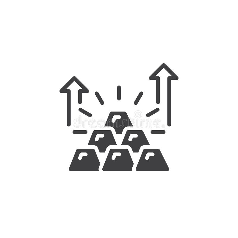 Pyramid av symbolsvektorn för guld- stänger, fyllt plant tecken, fast pictogram som isoleras på vit vektor illustrationer
