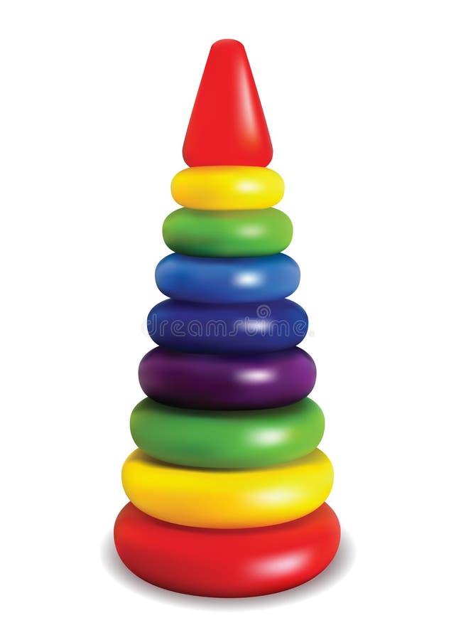 pyramid barn som framkallar leken Ljus kulör plast- leksak Isolerat anmärka vektor royaltyfri illustrationer