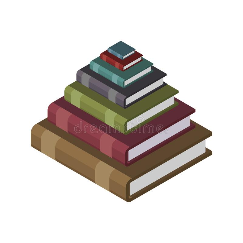 Pyramid from books. Knowledge and training concept illustration stock illustration