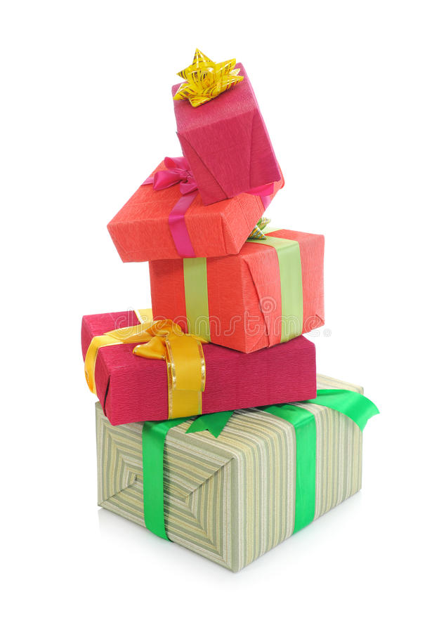 Pyramid of boxes of holiday royalty free stock photo