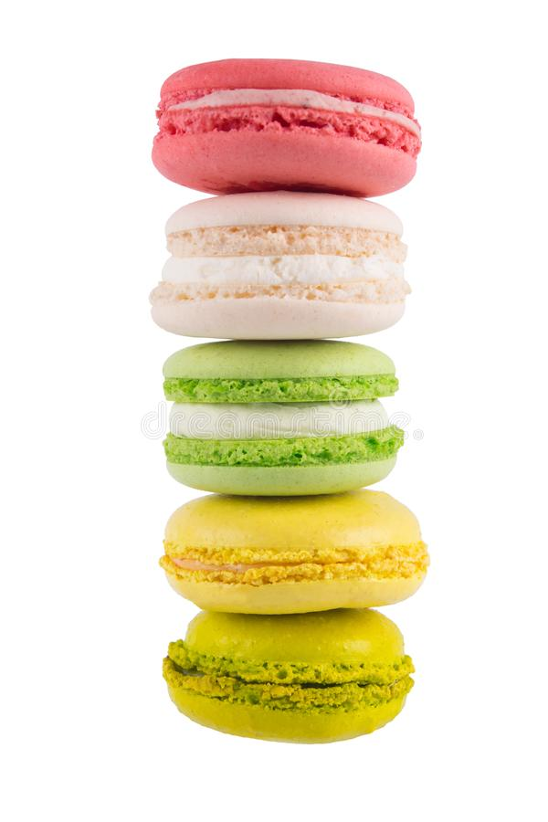 pyramid of 5 cake macaron, on white background royalty free stock images