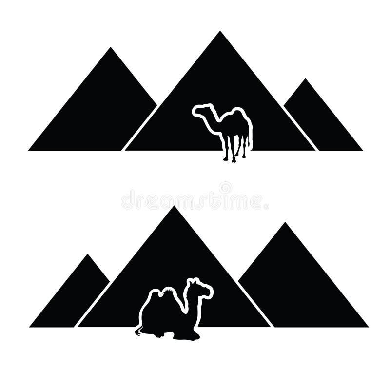 Pyramid with camel art stock photo
