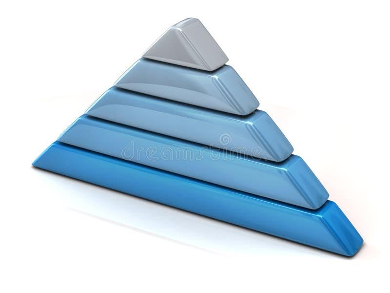 Pyramid chart 3d. Layered blue pyramid chart 3d royalty free illustration