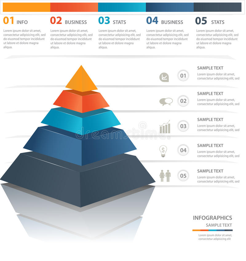 Pyramid chart. Colorful pyramid chart. Useful for infographics and presentations stock illustration