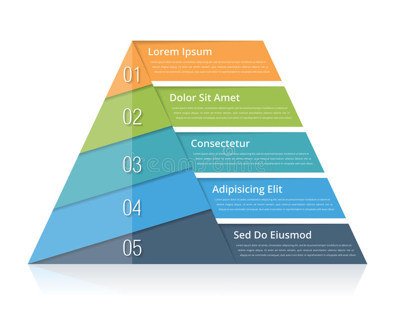 Pyramid Chart. With five elements with numbers and text, pyramid infographic template, pyramid diagram for presentations royalty free illustration