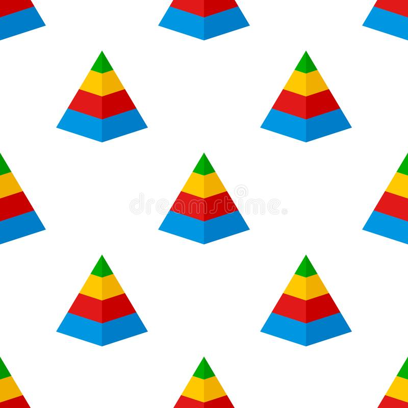 Pyramid Chart Flat Icon Seamless Pattern vector illustration