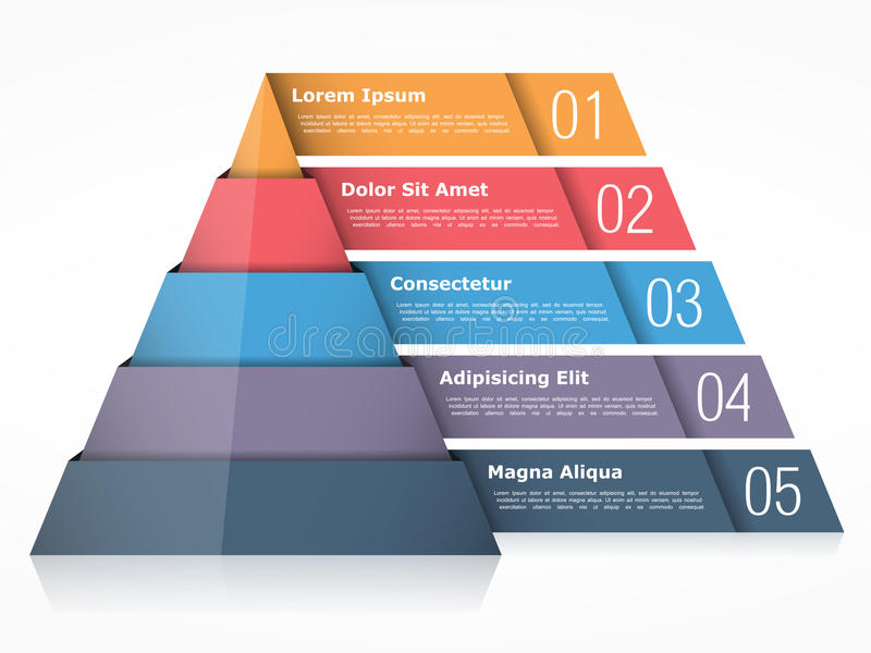 Pyramid. Chart with four elements,  infographics template stock illustration