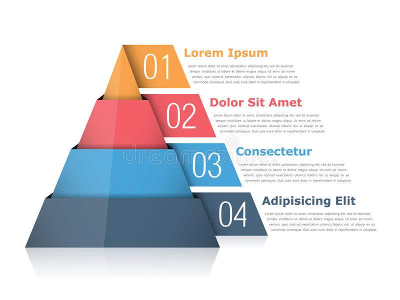 Pyramid Chart. With four elements with numbers and text, pyramid infographic template stock illustration