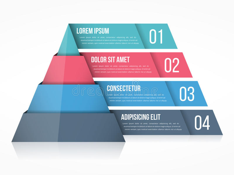 Pyramid Chart. With four elements with numbers and text, pyramid infographic template vector illustration