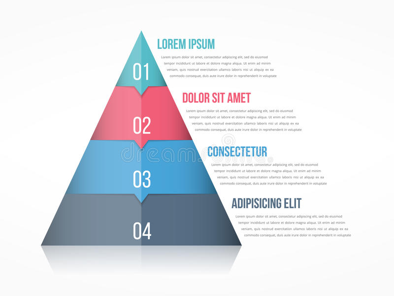 Pyramid. Chart with four elements with numbers and text,  infographic template royalty free illustration