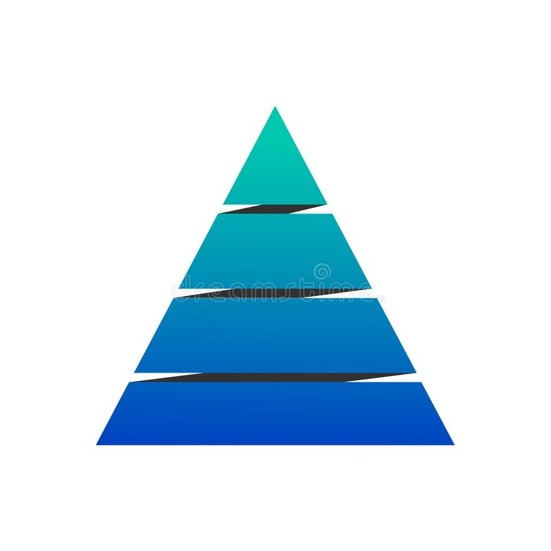 Pyramid chart with four elements, Vector illustration isolated on white background stock illustration
