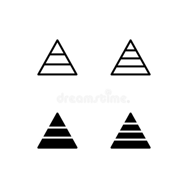 Pyramid Chart Icon Logo Vector Symbol. Graph Icon Isolated on White Background stock illustration
