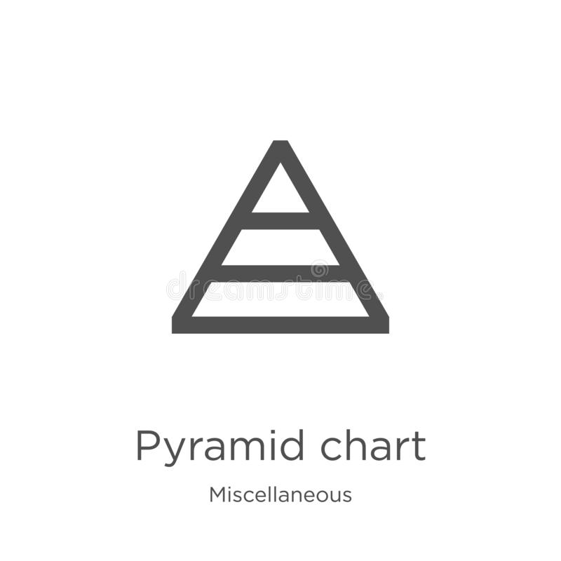pyramid chart icon vector from miscellaneous collection. Thin line pyramid chart outline icon vector illustration. Outline, thin stock illustration