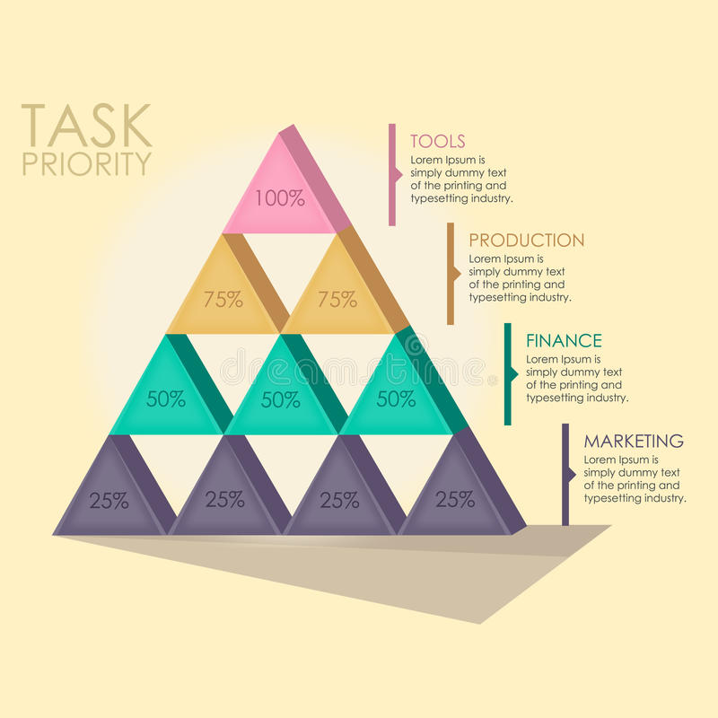 Pyramid Chart. Illustration to represent your data in a good visualisation. You can explain your business, marketing, profit or strategy. This is a vector stock illustration
