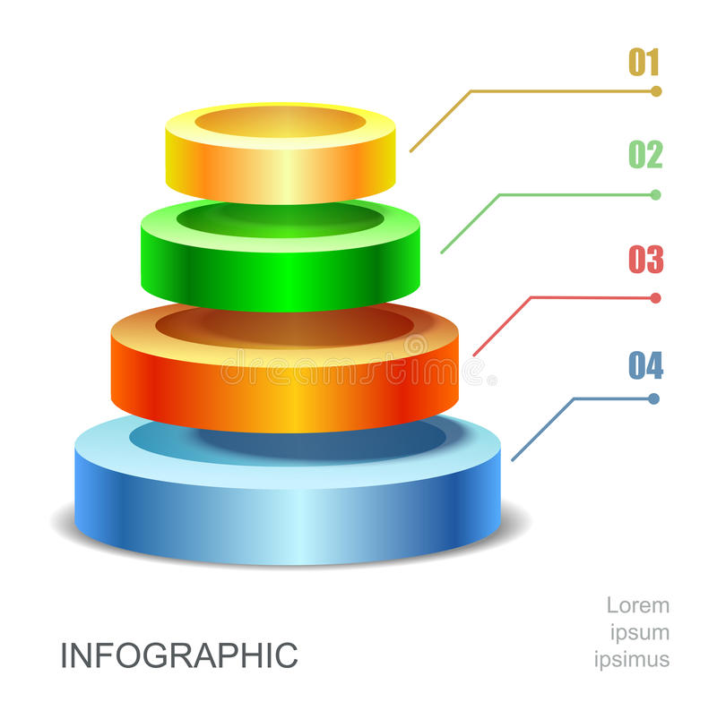 Pyramid chart for infographics presentation stock illustration