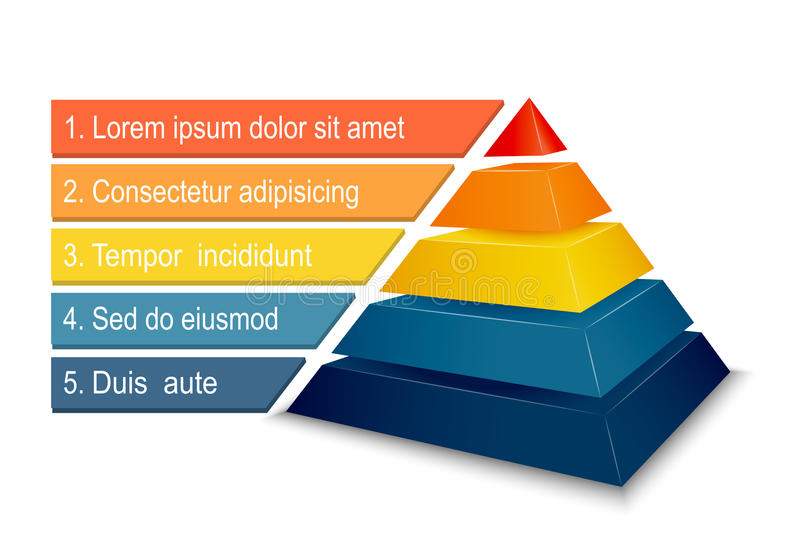 Pyramid chart for infographics royalty free illustration