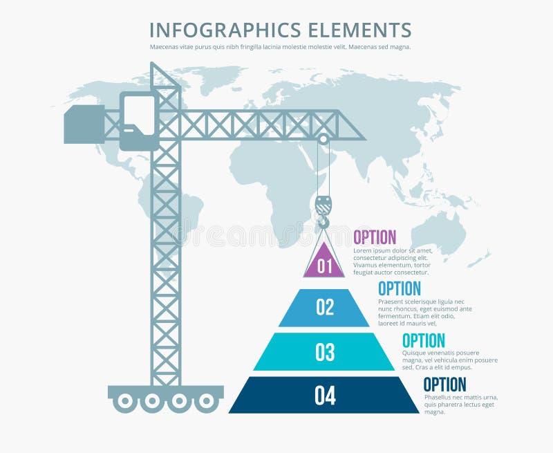 Pyramid chart options construction infographics stock illustration