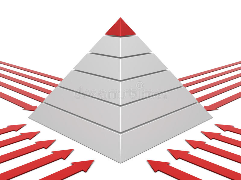 Pyramid chart red-white vector illustration