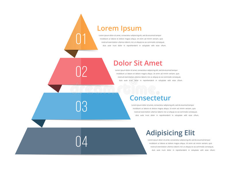 Pyramid Chart Template. Pyramid infographics, four steps infographics vector illustration