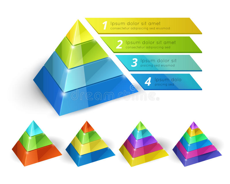 Pyramid chart templates. Vector pyramid chart isometric 3d templates with options for infographics and presentations vector illustration