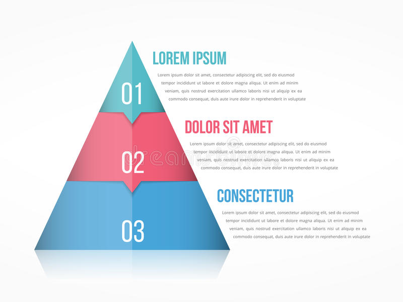 Pyramid Chart. With three elements with numbers and text, pyramid infographic template royalty free illustration