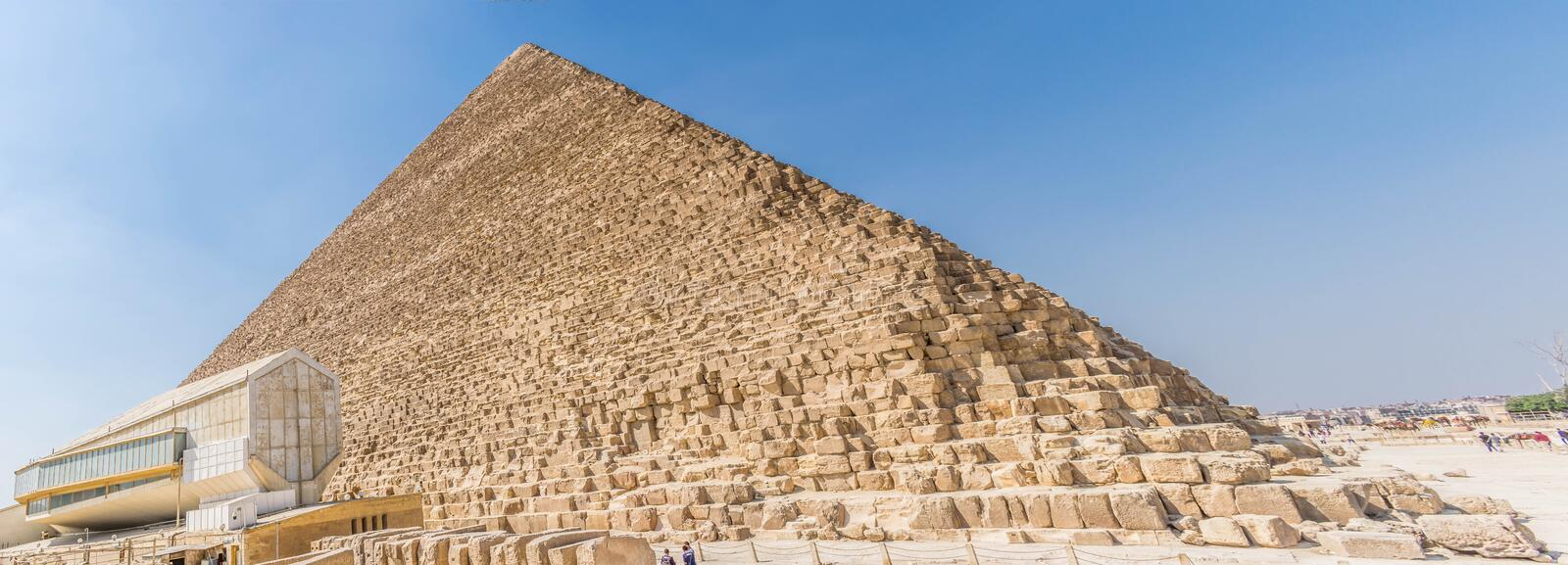 The Pyramid of Cheops in Sahara Desert. The Great Pyramid of Giza also the Pyramid of Khufu or the Pyramid of Cheops. is the oldest and largest of the three stock photo