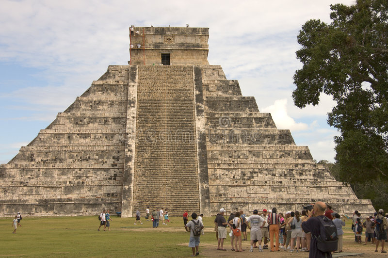 Pyramid Chichen Itza. Pyramid of Chichen Itza side view, Mexico, among the new seven wonders of the world, The four sides of 91 stairs are the origin of Mayan stock photos